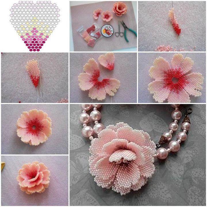 Beautiful handmade flowers with small beads