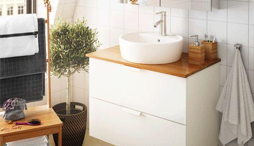 Waschbeckenunterschränke wie z. B.GODMORGON / ALDERN / TÖRNVIKEN Waschbschr+Aufsatzwaschb 45, weiß, Bambus