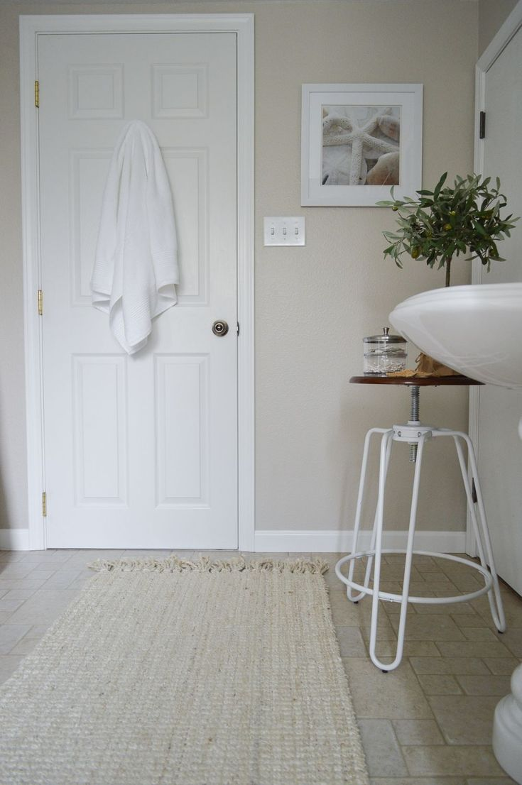 Worldly Grey by SW for master bath?   The Little Cottage Bathroom Makeover at Fox Hollow Cottage - Coastal cottage farmhouse blend with Better Homes & Gardens