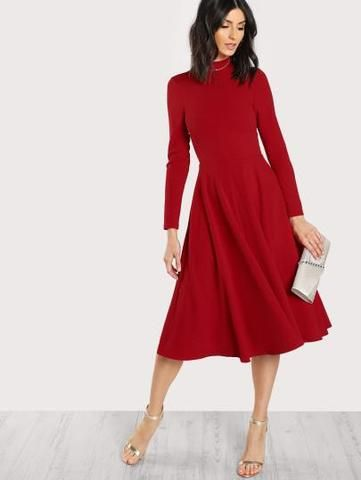 7915940651 A-Line Mid Calf Red Dress Small Dresses Boutique Clothing Shop Mobile