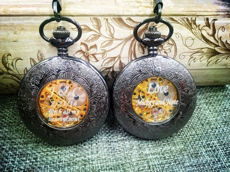Set of 11 Groomsmen Gift Wedding gift  Black Pocket Watch steampunk winding mechanical Pocket watch  best man father of the bride Engravable by PocketWatchEngraved on Etsy