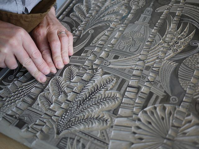 Absolutely beautiful and inspiring lino cutting, printing and painting by St. Jude's, via Flickr
