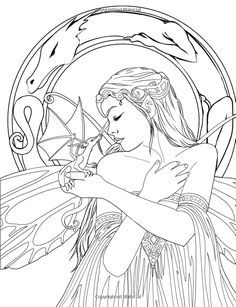 17 best ideas about adult coloring pages on pinterest for Dragon and fairy coloring pages