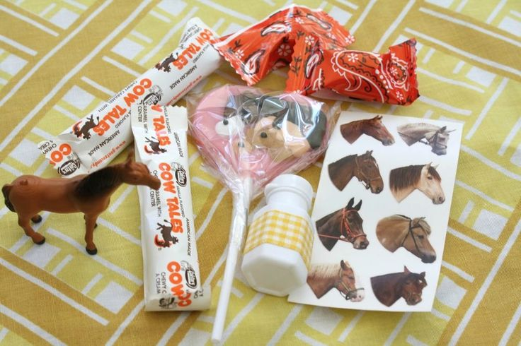 Cowboy Goody Bag: Cow Tales, horse figure, and bandana candy