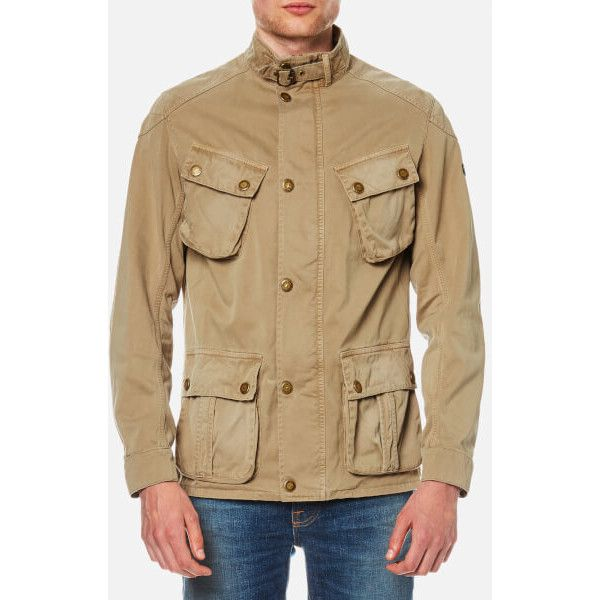 Barbour International Men's Rumble Casual Jacket - Stone (4,335 MXN) ❤ liked on Polyvore featuring men's fashion, men's clothing, men's outerwear, men's jackets, stone and mens jackets