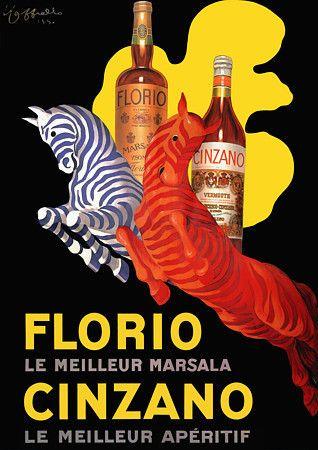 'Florio & Cinzano' zebras by Cappiello. http://www.vintagevenus.com.au/collections/drinks/products/vintage_poster_print-d154