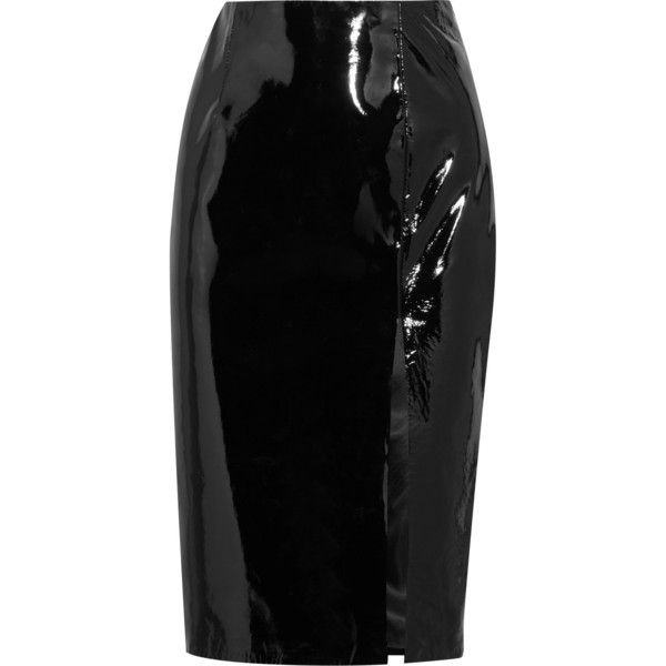Topshop Unique Patent-leather pencil skirt found on Polyvore featuring skirts, bottoms, topshop unique, slit skirt, shiny skirt, patent skirt, knee length pencil skirt and patent leather pencil skirt