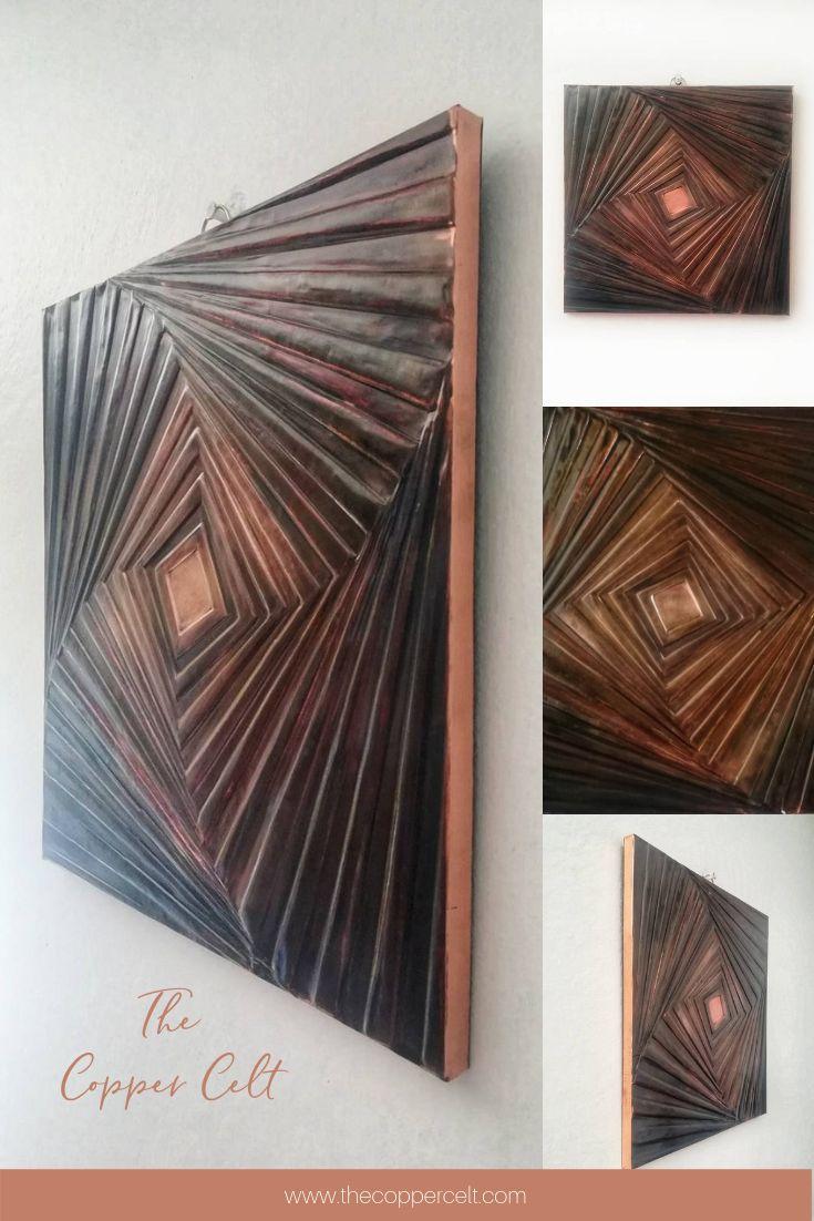 Geometric Embossed Copper Wall Art Ooak Handmade Artwork In Etsy Copper Wall Art Square Wall Art Copper Wall
