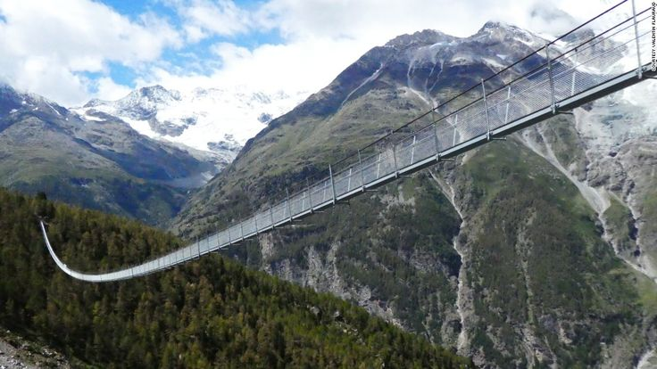 (CNN) — Spanning an awesome 1621 feet and rising as high as 279 feet, the newly opened Charles Kuonen Suspension Bridge in Switzerland has broken the record for the world's longest pedestrian suspension bridge, according to Zermatt Tourism. The bridge offers hikers views of the Matterhorn, Weisshorn