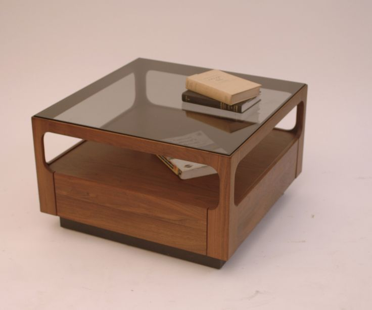 Harrington Galleries - Mid Century Brown and Saltman Glass and Walnut Coffee Table by John Keal , $695.00 (http://webstore.harringtongalleries.com/mid-century-brown-and-saltman-glass-and-walnut-coffee-table-by-john-keal/)