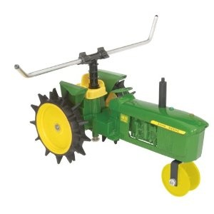Attach the hose to the sprinkler. Lay the hose out in the path that you would like the tractor to travel. Turn on the water and watch your tractor sprinkler go!