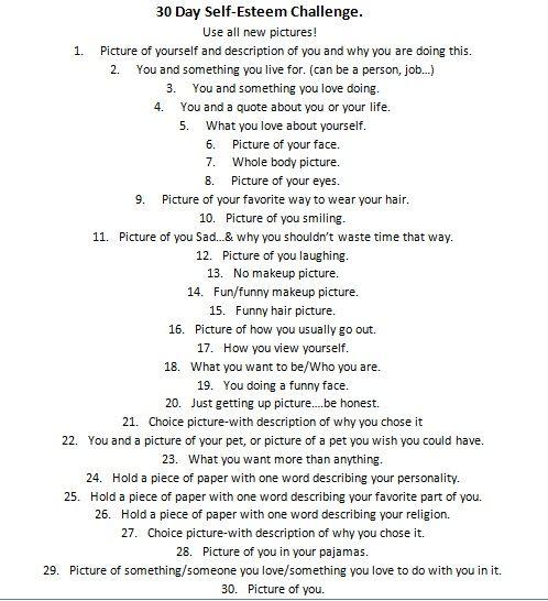 Facebook 30 Day Self-Esteem Challenge.