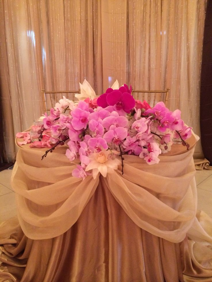 orchid centerpiece for sweetheart table