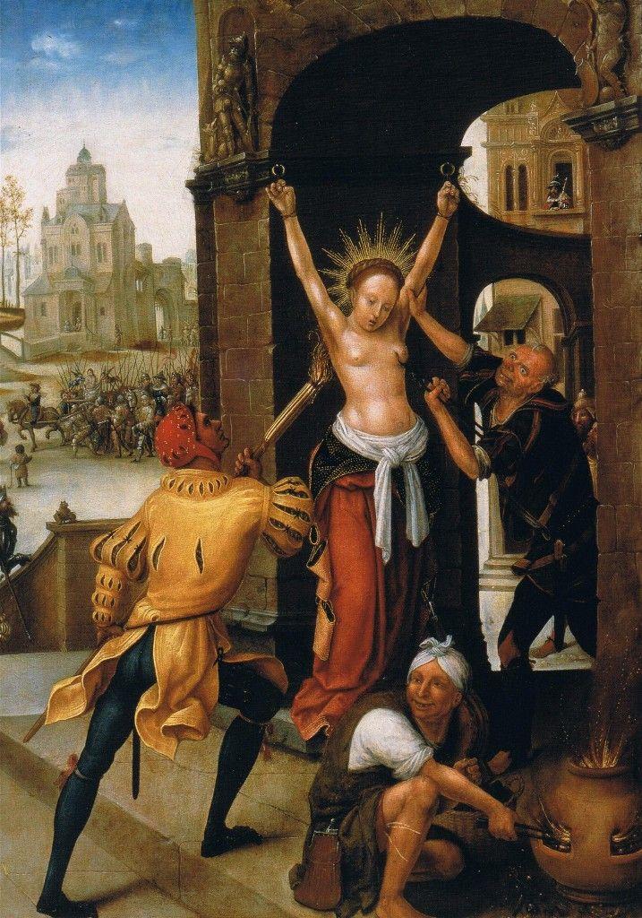 Jean Bellegambe Il martirio di Sant'Agata 1515 Douai, Musée de la Chartreuse Inizialmente venne fustigata e sottoposta al violento strappo delle mammelle, mediante delle tenaglie.infine sottoposta al supplizio dei carboni ardenti.