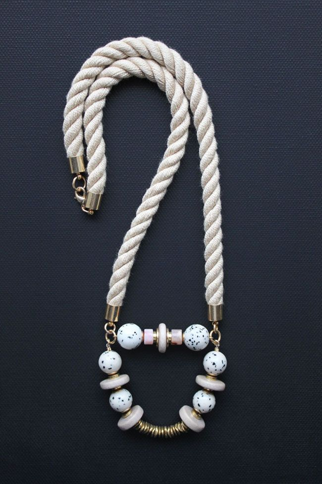 Twisted rope necklace with pink opal, jasper and wood