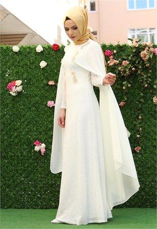 Karis Şifon Pelerinli Elbise Beyaz 1308