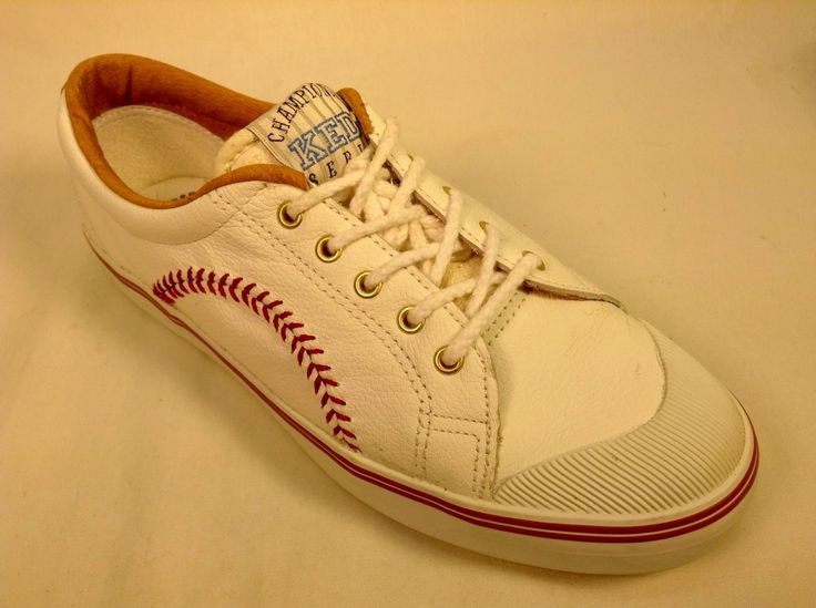 Vintage 1992 Keds Championship Series White Leather Baseball Shoes .