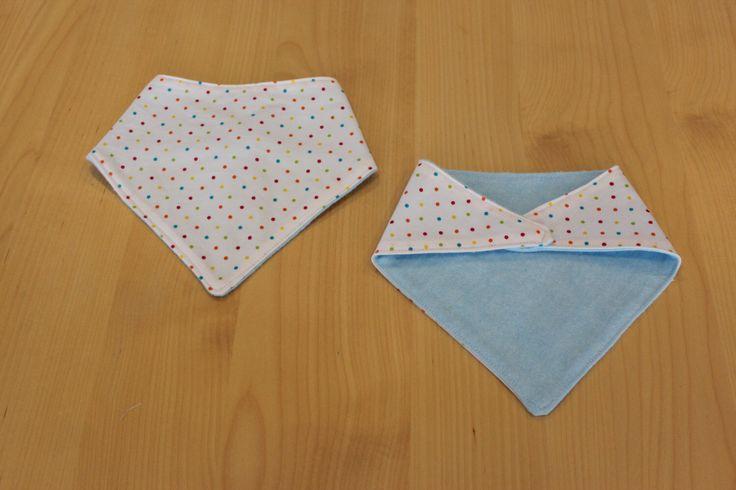 Multicolour spot baby bandana/ dribble bib, available from my Etsy shop https://www.etsy.com/au/listing/243632932/reversible-bandana-bib-hot-spot-bluebell