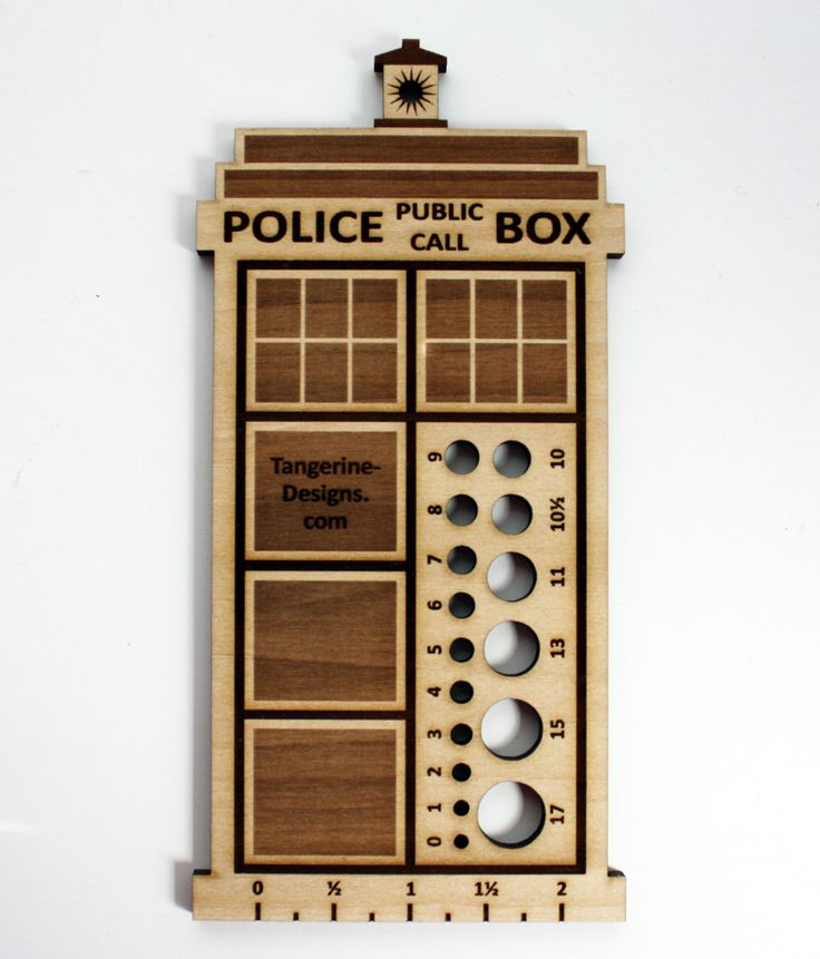 Doctor Who Police Box Knitting Needle Gauge, Laser Cut Wood, Sizes 0 to 17, Ruler. (NEED THIS!!!)