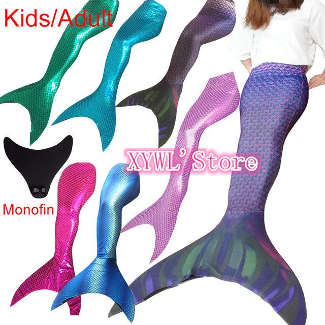 Ariel New Kid Girl Adult Women Sparkle Swimmable Mermaid Tail only Without Monofin only Swimwear Costume Cosplay Swimsuit