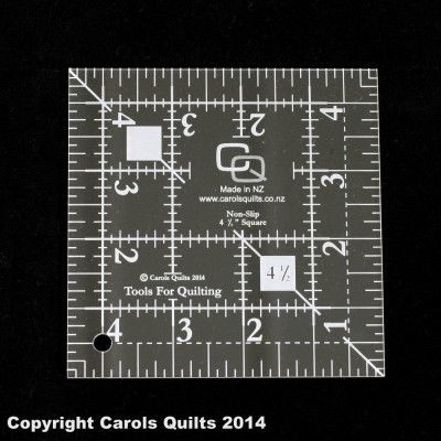 63. Quilting Square Ruler: (non-slip) 4 1/2″ This Quilting Square Ruler works with the 2 1/2″ by 4 1/2″ rectangle and the 2 1/2″ square to create a variety of quilting blocks.