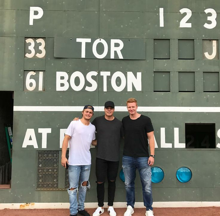 William Nylander, Auston Matthews, and Frederik Andersen enjoy the Blue Jays vs. Red Sox game in Boston.