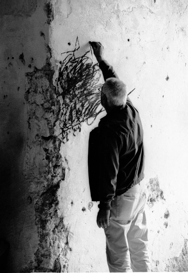 Italian artist Mimmo Paladino (b.1948) at work. Photographer unknown. via Spencer Alley