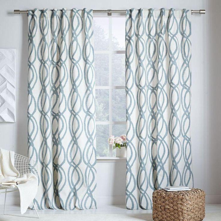 Cotton Canvas Scribble Lattice Curtains (Set of 2) - Blue Sage
