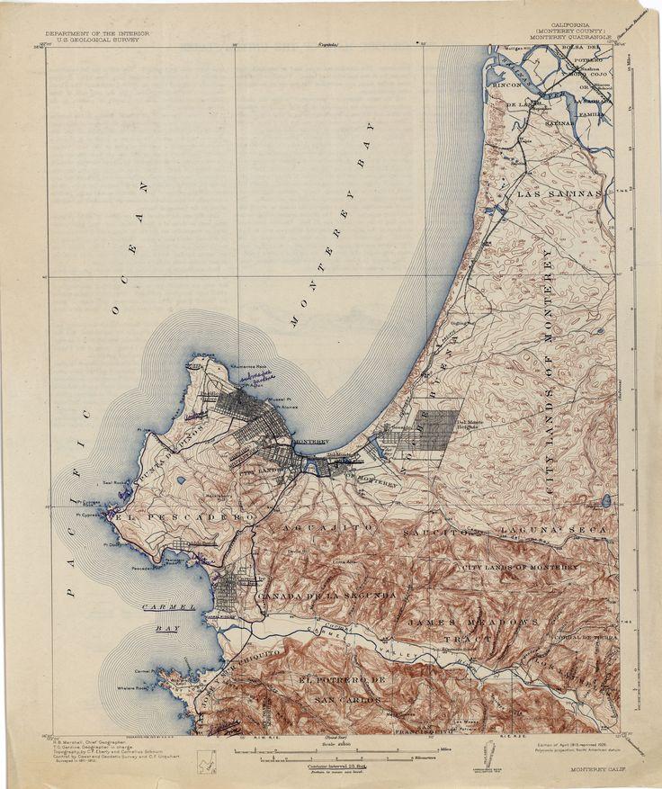 pixels Historical Map of Monterey CA R