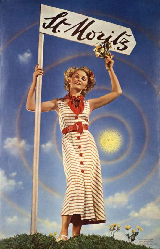 St. Moritz (by Herdeg Walter / 1936) Photo-montage poster signed by swiss designer Walter Herdeg.