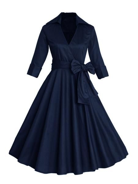Navy Blue Waist Wrap Tie Surplice Dress
