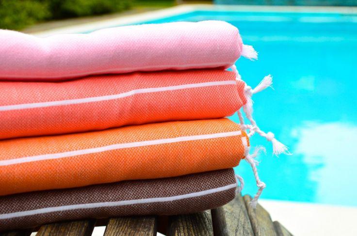 Turkish towels by Willa Nord, pink, melon, orange, brown