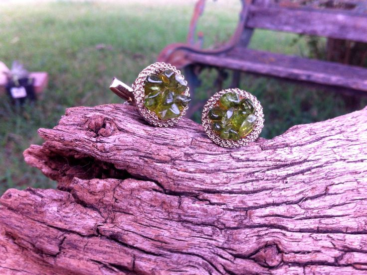 Men's cuff links Gold tone mesh Green stone cluster cufflinks Men's accessories Vintage cuff links Fathers Day gift Formal attire for men by STUFFEZES on Etsy