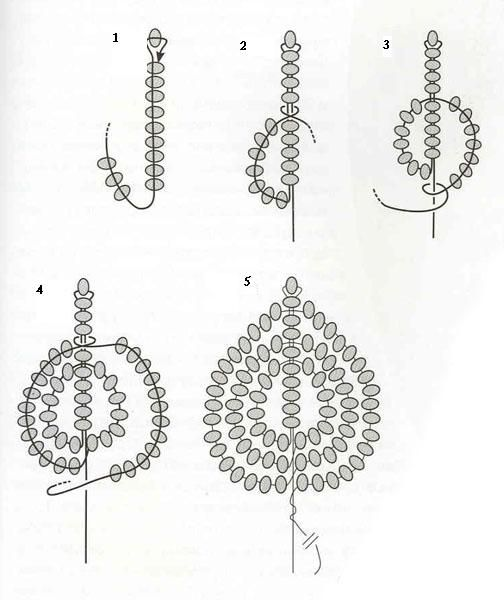 French beaded flowers - petal or leaf tutorial.