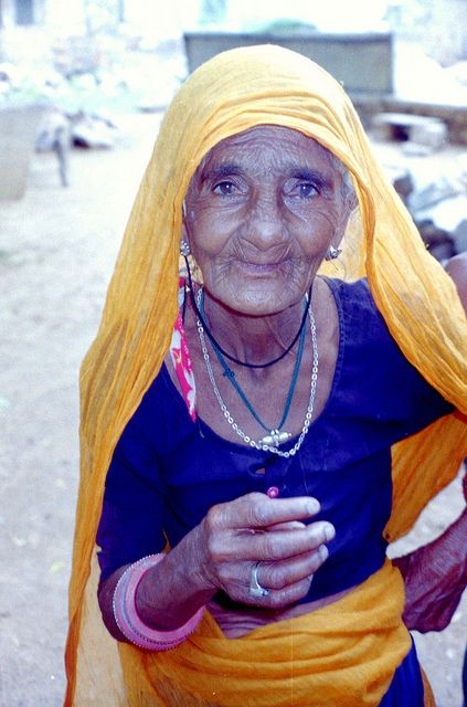 Elderly woman in India. From the post: Tribute to the colourful people of India