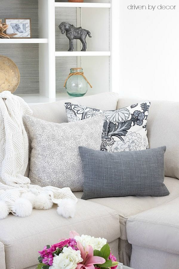 Great arrangement of pillows for the corner of a sectional