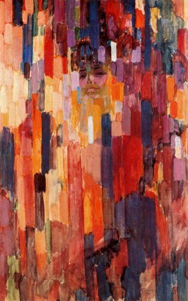 Madame Kupka between verticals, 1911 by Frantisek Kupka. Orphism. portrait. Museum of Modern Art, New York, USA