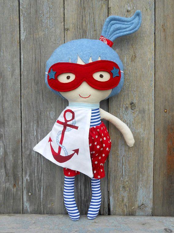 FABRIC DOLL, superhero girl doll, nautical doll, dolls, rag doll, soft doll, dolls, cloth doll, dress up doll, nautical doll, soft toy