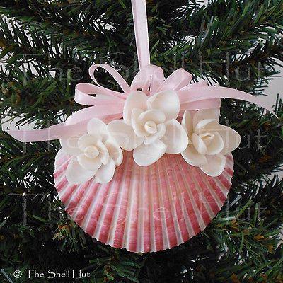 Seashell-Christmas-Pink-Scallop-Ornament-White-Flowers-Beach-Tropical-Seashore