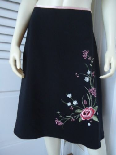 JONATHAN MARTIN Sz 9 Jrs Skirt A-line Stretch Poly Embroidery Unlined RETRO CHIC
