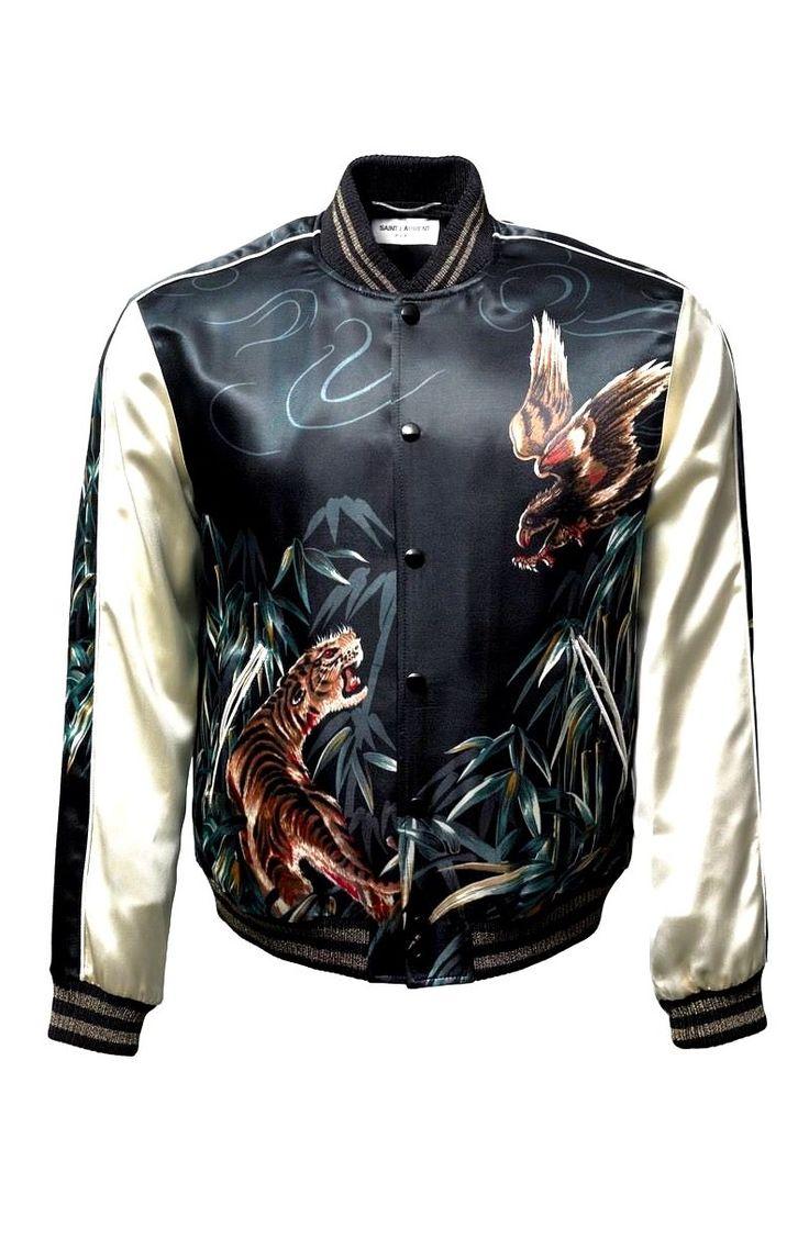 Saint Laurent Tiger Eagle Men's Bomber Varsity Satin Teddy Jacket │ Represented By Kanye West, Keith Richards, Harry Styles