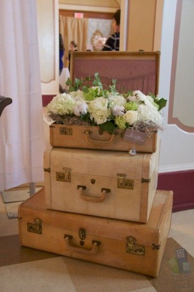 Vintage Suitcases With Flowers Centerpieces Table Ideas