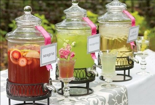I would like to do this with the drinks, we can make one a mimosa, one something else, then we can do one a ice tea/ pink lemonade and one water with cucumber or fruit in it
