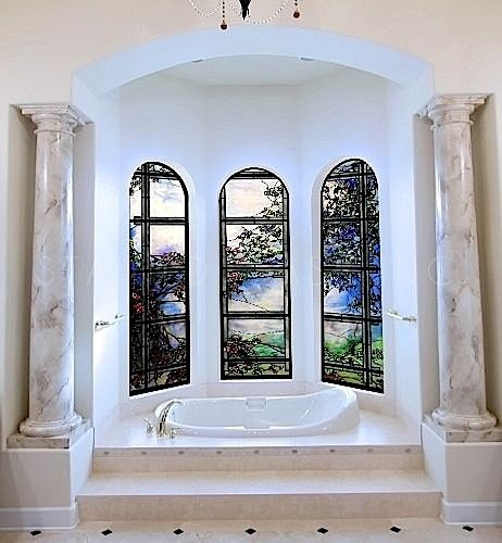 This Floral Vines and Lattice Stained Glass window flows beautifully around the tub. You are able enjoy the benefits of privacy and beauty.