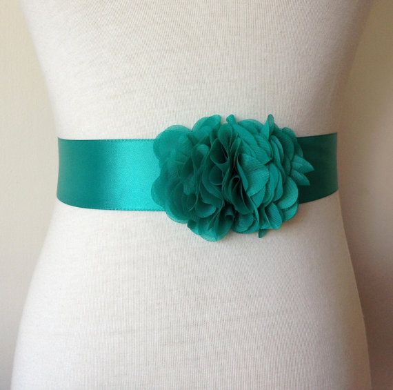 Bridesmaid Sash-Jade Green Sash-Bride by RoseybloomBoutique