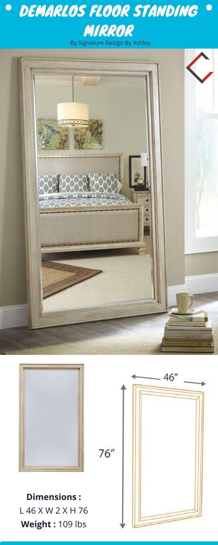 Demarlos Parchment White Wood Floor Standing Mirror