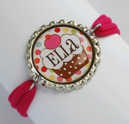 cute bracelets using Flattened Bottle Caps