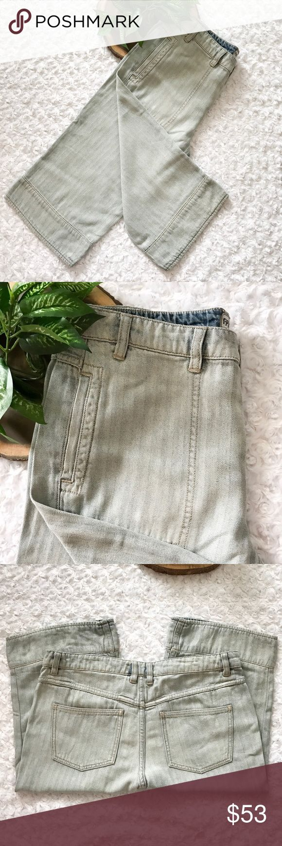 NEW Free People Light Wash Stripe Denim Capri Jean NEW Free People Light Wash Stripe Denim Capri Cropped Jeans. Light faded wash. Button fly. NWOT. Size 28. Pet and smoke free home. No Trades! Bundle and save! Inquire below with questions! Thanks for looking, sharing, and saving. Free People Jeans Ankle & Cropped