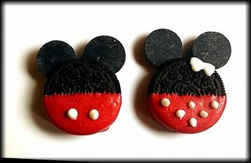 Mickey and Minnie inspired chocolate covered Oreo cookies