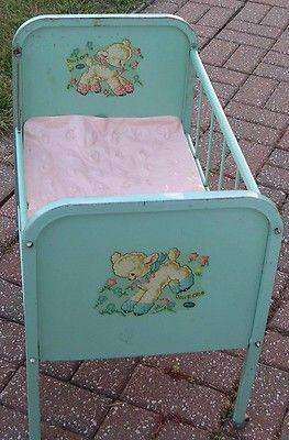 1950s baby cribs | Doll E Crib By Amsco Original Blue W Mattress Old Vintage 1950′s ...